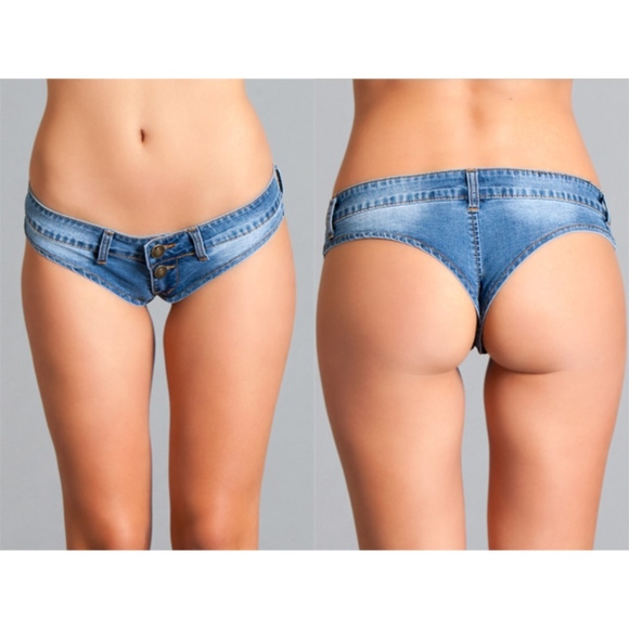 Be Wicked Other - Low Rose Mini Denim Short Thong size S, M, or Larg